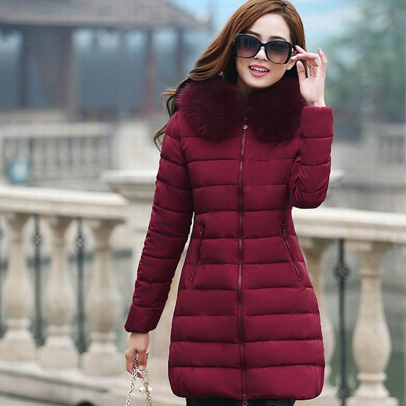 7798b73d801d refeeldeer плюс размер 4xl меховой воротник капюшоном ветровки женщины 2017  с капюшоном женские зимние куртки пальто женщин толстые теплые стеганые  пальто, ...